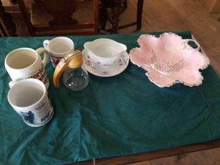 PINK 50 S DISH  GRAVY DISH  COFFEE CUPS  SYRUP