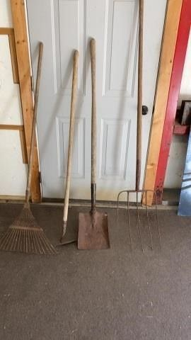 RAKE  HOE  SHOVEl AND FORK WITH 4