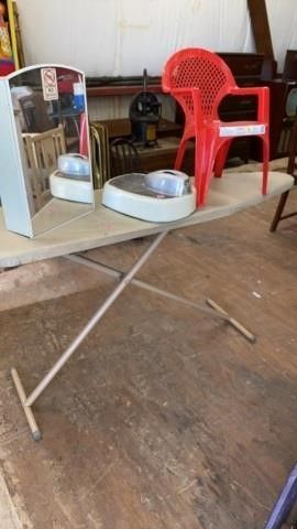 VINTAGE MEDICINE CABINET SCAlE  IRONING BOARD AND