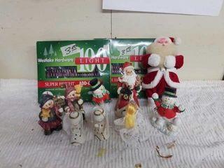 2 BOXES CHRISTMAS lIGHTS AND HOlIDAY FIGURINES