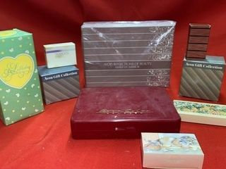 ASSORTED AVON GIFT COllECTIONS AND MAKE UP MIRROR