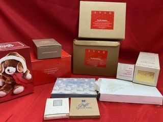 NEW IN BOX AVON FESTIVE DECORATIONS AND MANY