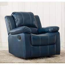 charleston leather gel recliner navy blue