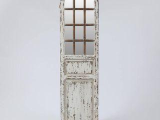 Distressed White Wood Farmhouse Door Wall Mirror  Retail 157 49