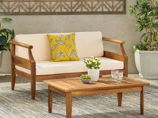 Aston Outdoor Mid Century Modern Acacia Wood loveseat Set by Christopher Knight Home  Retail 419 49
