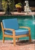 outdoor chair teak finish and blue cushion