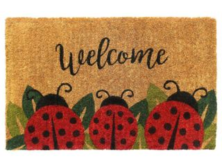 RugSmith Red Handloom Woven   Printed ladybug Coir Doormat  18  x 30