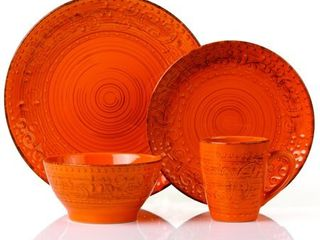 lorren Home Trends Distressed Finish Orange Stoneware 16 piece Round Dinnerware Set  Retail 76 48