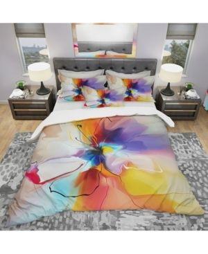 Designart  Creative Flower in Multiple Colors  Modern   Contemporary Bedding Set   Duvet Cover   Shams  Retail 134 99 full queen