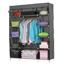 5 layer 12 Compartment Non woven Fabric Wardrobe Portable Closet  52 4 x 18 1 x 67  gray