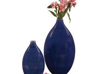Cobalt Blue Glaze Ceramic Vases  Set of 2  blue