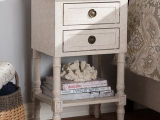 Country Cottage Whitewashed 2 Drawer Nightstand by Baxton Studio   Retail 178 99