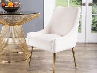 Abbyson Bevie Velvet Dining Chair   Retail 256 99 ivory