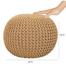 lychee Knitted Cotton Round Pouf Ottoman  Retail 77 48