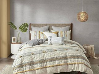 INK and IVY Cody Gray  Yellow Cotton Duvet Cover Set  Retail 101 99