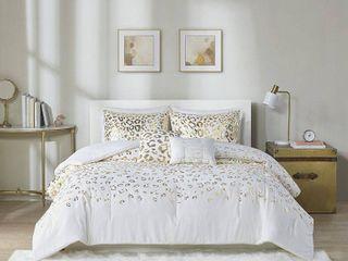 Full Queen Kendra Metallic Printed Comforter Set Ivory Gold