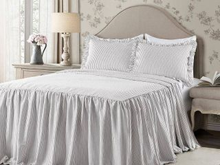 King 3pc Ticking Stripe Bedspread Set Gray   lush DAccor