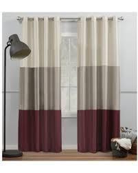Porch   Den Birdsview Striped Faux Silk Grommet Top Curtain Panel Pair