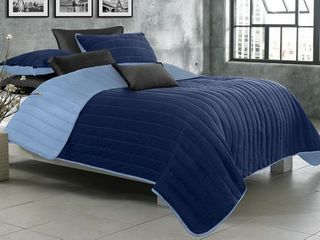 Quilt Blanket Solid 3 Piece Set Full Queen Game Night Collection Navy Twilight Blue