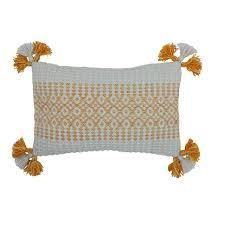 Ava Woven Outdoor Pillow 12 in  x 20 in  with tassels