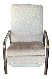 manila recliner light grey and gold metal mid century lft1b