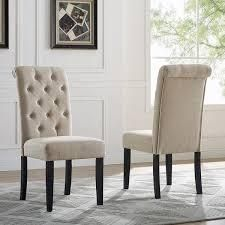 parson Dining Chairs  Set of 2  Retail 124 99 with cream linen