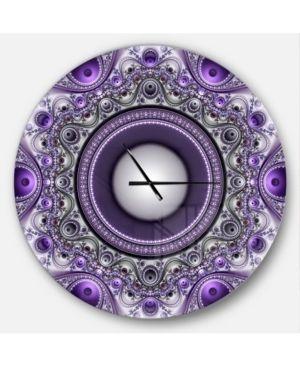 Designart  Purple Fractal Pattern with Circles  Oversized Modern Wall Clock  Retail 139 99