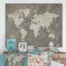 Designart   Slate World Map  Cottage Canvas Wall Art