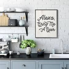 Stupell Industries Alexa Bring Me Wine Distressed Kitchen Sign Canvas Wall Art