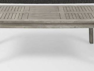 Hampton Outdoor Wood and Wicker Coffee Table only light grey wash