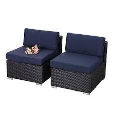 Phi Villa outdoor 2 pc sofa middle section only blue cushion