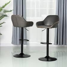glitzhome mid century leatherette vintage grey set of 2 Retail 209 99