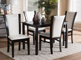 Null contemporary white faux leather chairs only set of 2