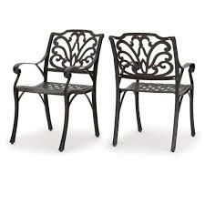 cast aluminum dining chairs set of 2 bronze