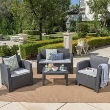 Daytona Outdoor 4 piece Chat Set with Sofa and Cushions by Christopher Knight Home   Retail 776 49 brown