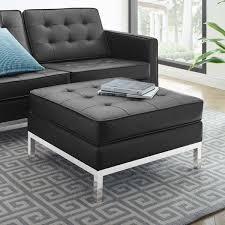 Carson Carrington lagdom Tufted Upholstered Faux leather Ottoman  Retail 227 99 slv black