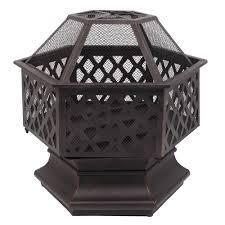 22  Hexagonal Shaped Iron Brazier Wood Burning Fire Pit  Retail 123 99 black