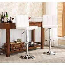 Porch   Den Galena Upholstered Chrome Adjustable Bar Stools  Set of 2  Retail 118 49 white
