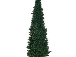 Gymax 8Ft PVC Artificial Pencil Christmas Tree Slim w  Stand Home Holiday Decor Green