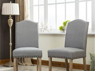 Mod Urban Solid Wood Upholstered Parson Chairs  Set of 2  Retail 229 99 grey