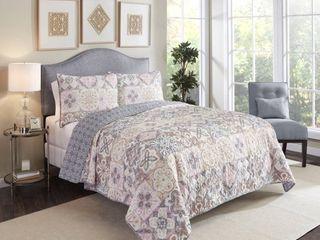 Pastel Queen Marble Hill Torrey Reversible Cotton 3 Piece Quilt Set