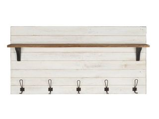 Kate and laurel Jeran Wood Wall Shelf with 5 Hooks  Retail 169 99