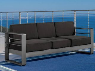 Cape Coral Outdoor Aluminum Sofa Couch with Cushions in Grey  Dark Grey by Christopher Knight Home  469 99