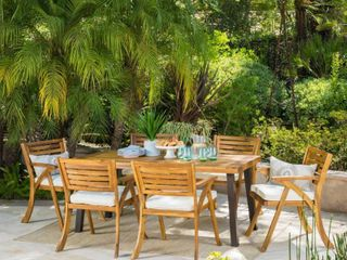 Della Outdoor chairs only set of 2 teak finish with cream cushion