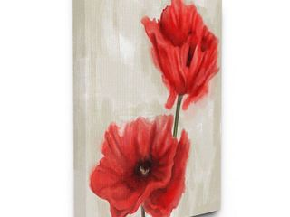 Stupell Industries Soft Petal Poppies Red Beige Floral Painting Canvas Wall Art