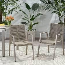 patio chairs set of 2 silver and taupe