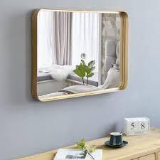 artisasset 35 8  large Metal Wall Mirror Glass Rounded Corner Deep Set Design  Retail 98 99 gold