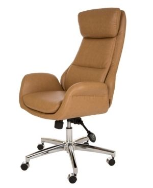 Glitzhome Mid Century Modern leatherette Adjustable Office Chair  Retail 272 49 camel