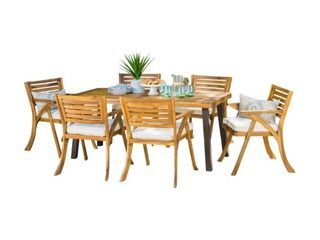 Della Outdoor dining table only teak finish and rustic metal