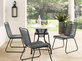 Sarcelles Woven Wicker Patio Dining Chairs by Corvus  Set of 4    Grey  308 99
